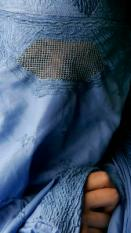 AMSTERDAM - Close-up van een vrouw in een burka. ANP PHOTO LEX VAN LIESHOUT