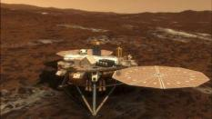 epa01356764 A undated handout image by NASA of an artist's conception depicting NASA's Phoenix Mars Lander opening its solar arrays 20 minutes after it touches down on the surface of Mars. This ensures that any dust kicked up during the landing will not settle in on the arrays.  NASA's planetary probe is to land on the north pole of Mars late 25 May 2008. Phoenix's mission, with a total cost of the project being 420 million dollars, is to look for signs of life in a region of the red planet where earlier missions showed evidence of ice.  EPA/NASA/HO  EDITORIAL USE ONLY  EPA/NASA/HO  EDITORIAL USE ONLY