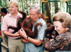 INDONESIA - From left to right Prince Willem-Alexander, Prince Claus and Queen Beatrix adopted each an Orang-Utan in a park, where they are protected. They visited the park during their 10-day state visit to Indonesia in 1994. ANP ROYAL IMAGES BENELUX PRESS