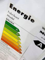 AMSTERDAM - Energiewijzer op witgoedapparaten in Amsterdam. ANP PHOTO XTRA KOEN SUYK