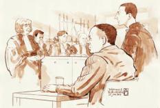 AMSTERDAM - Johannes K. en zijn advocaat W. van Vliet (R) vrijdag in de rechtbank van Amsterdam. K. wordt verdacht van het stalken van Carice van Houten. ANP ALOYS OOSTERWIJK