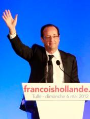 epa03208826 French Socialist Party (PS) presidential candidate Francois Hollande waves to supporters before delivering a speech after winning the second round of the French presidential elections in Tulle, France, 06 May 2012. French Socialist candidate Francois Hollande defeated incumbent Nicolas Sarkozy in the final round of France's presidential election, with exit polls indicating that Hollande is leading with approximately 52 per cent of the vote.  EPA/GUILLAUME HORCAJUELO