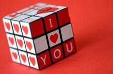 DEN HAAG - ILLUSTRATIE - Een Rubiks kubus met I LOVE YOU voor Valentijnsdag. ANP XTRA LEX VAN LIESHOUT