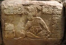 epa03290371 A handout picture provided by Guatemalan Fundacion Patrimonio Cultural y Natural Maya on 30 June 2012 shows a detail of a stone sculpture by Mayas 1300 years ago. Archaeologists found this and other stones that shows the end of Maya Calendar on 21 December 2012. The stone was found last April and its discovery was released this week in Ciudad de Guatemala, Guatemala.  EPA/PACUNAM / HANDOUT EDITORIAL USE ONLY/NO SALES