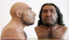 epa00740979 Two Neanderthal men with different distinctive growth of hair pictured in the Rheinisches Landesmuseum in Bonn, Germany, Tuesday, 13 June 2006. 150 years after its discovery the probably oldest celebrity of human history got a scientifically-proven face. The bones found in 1987 were the sample for the 'Living ancestor' made with a stereo lithograph.  EPA/Joerg Carstensen