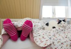 Een vrouw ligt met sokken aan onder een dik dekbed. ANP XTRA ROOS KOOLE