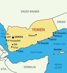 De kaart van Jemen, op het Arabische schiereiland.