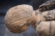 Close-up van een Egyptische mummie.