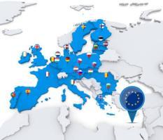 EU-lidstaten op de kaart van Europa