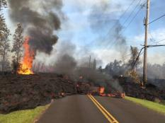 2018-05-05 08:06:44 epa06715783 A handout photo made available by the United States Geological Survey shows lava from a fissure slowly advanced to the northeast on Hookapu Street in Leilani Estates subdivision on Kilauea Volcano's lower East Rift Zone near Pahoa, Hawaii, USA, 05 May 2018 (issued 06 May 2018). A local state of emergency has been declared after Mount Kilauea erupted near residential areas, forcing mandatory evacuation of about 1,700 citizens from their nearby homes. The crater's floor collapsed on 01 May and is since then continuing to erode its walls and generating huge explosions of ashes. Several earthquakes have been recorded in the area where the volcanic eruptions continue, including a 6.9 magnitue earthquake which struck the area on 04 May.  EPA/USGS HANDOUT  HANDOUT EDITORIAL USE ONLY/NO SALES