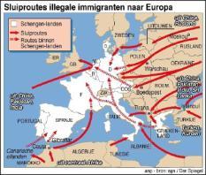 NLD-20020620-RIJSWIJK: Sluiproutes illegale immigranten naar Europa. ANP INFOGRAFIEK JEROEN LUIZINK EN ROB TACONIS