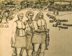 DEN HAAG - Het geillustreerde scheepsjournaal met daarop Tongalezen, van ontdekkingsreiziger Abel Tasman. Het scheepsjournaal van Tasman uit 1642/43 over zijn reis naar Tasmanie en Nieuw-Zeeland is ter gelegenheid van 400 jaar betrekkingen tussen Nederland en Australie te zien in het Nationaal Archief in Den Haag. ANP PHOTO ED OUDENAARDEN