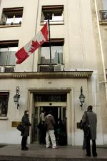 epa00936589 Front of the Canadian Embassy at 35 Ave. Montagne in Paris, France, Monday 19 February 2007. An alert for possible nuclear, radiological, bacteriological and chemical danger was triggered by Parisian authorities when around 9 am they received a call from the embassy stating that an employee had a nosebleed after handling an envelope that had been dropped at the embassy's mailbox. The envelope contained a piece of cloth and was taken away for analysis.  EPA/HORACIO VILLALOBOS